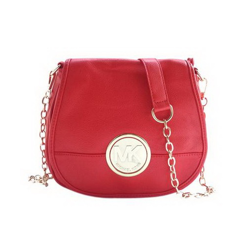 e8465e25b259 100% Original Michael Kors Fulton Pebbled Logo Large Red Crossbody Bags  Outlet