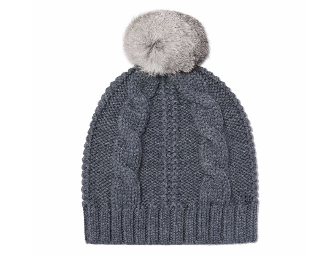 Tory Burch Cable Knit Pom-Pom Hat
