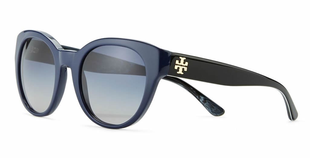 Tory Burch Mirror 'T' Round Sunglasses